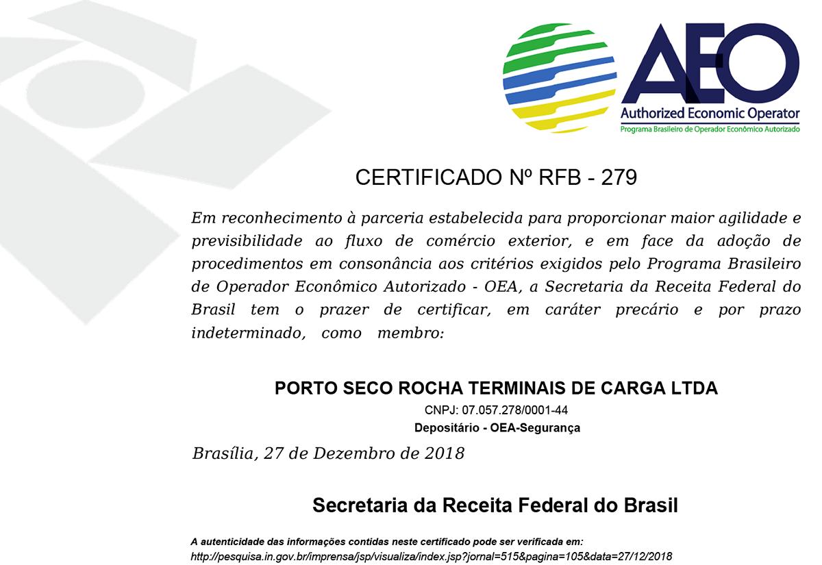 Rocha - Certificado AEO - Porto Seco