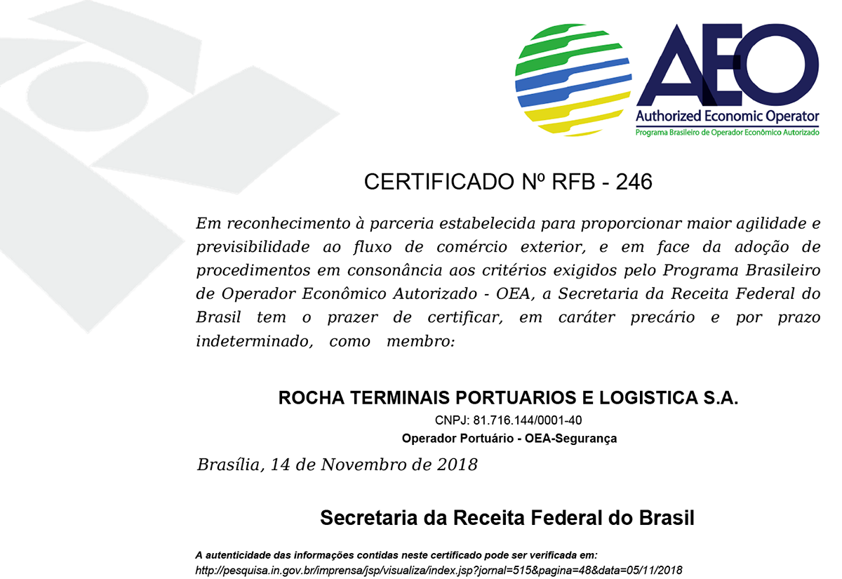 Rocha - Certificado AEO - Operações Portuárias