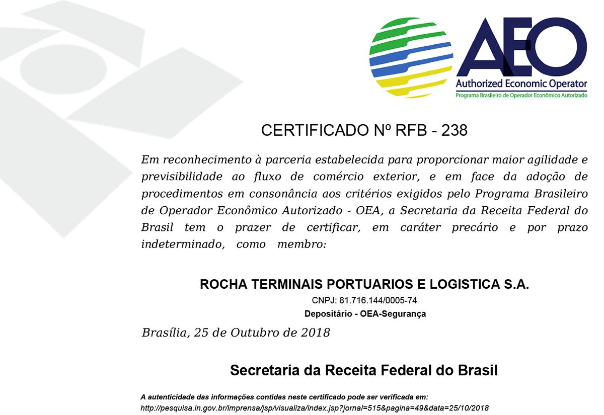 Rocha - Certificado AEO - Granel de Importação