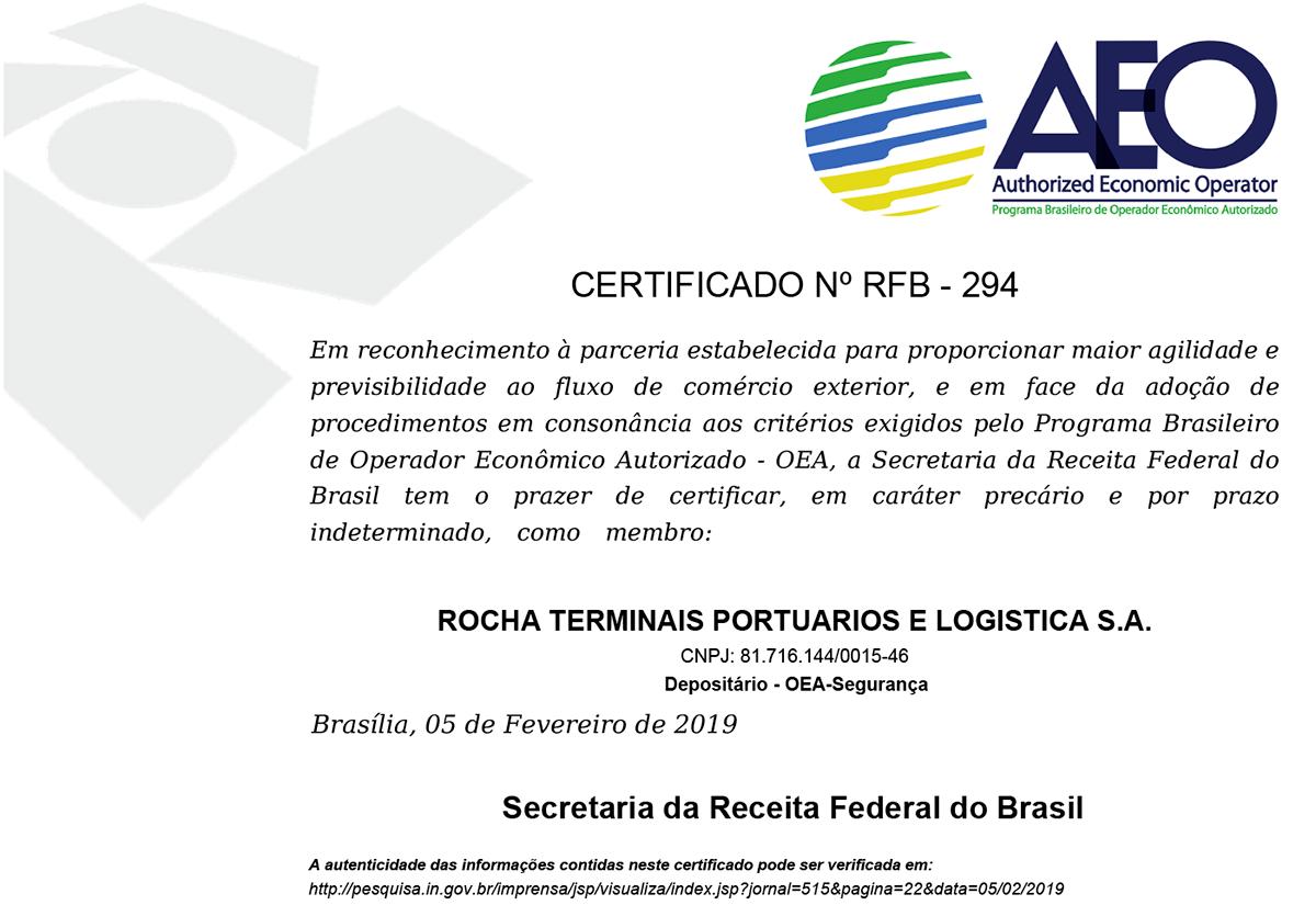 Rocha - Certificado AEO - Granel de Exportação