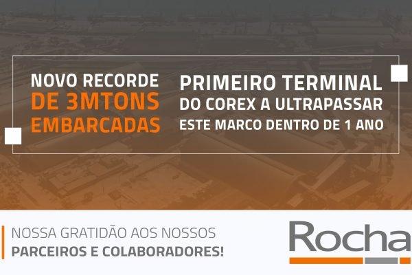 NOSSO TERMINAL DE EXPORTAÇÃO BATE RECORDE  DE 3 MILHÕES DE TONELADAS EMBARCADAS