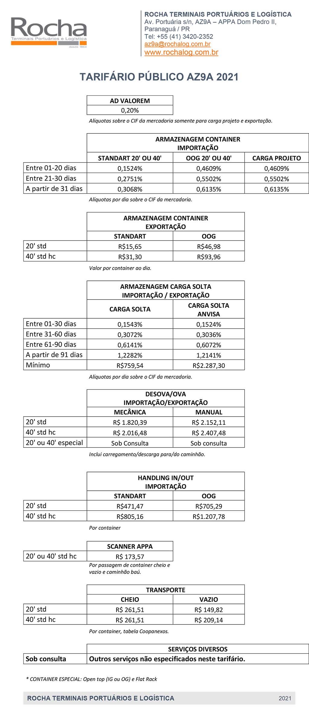 Rocha - AZ9A - Tarifário 2021