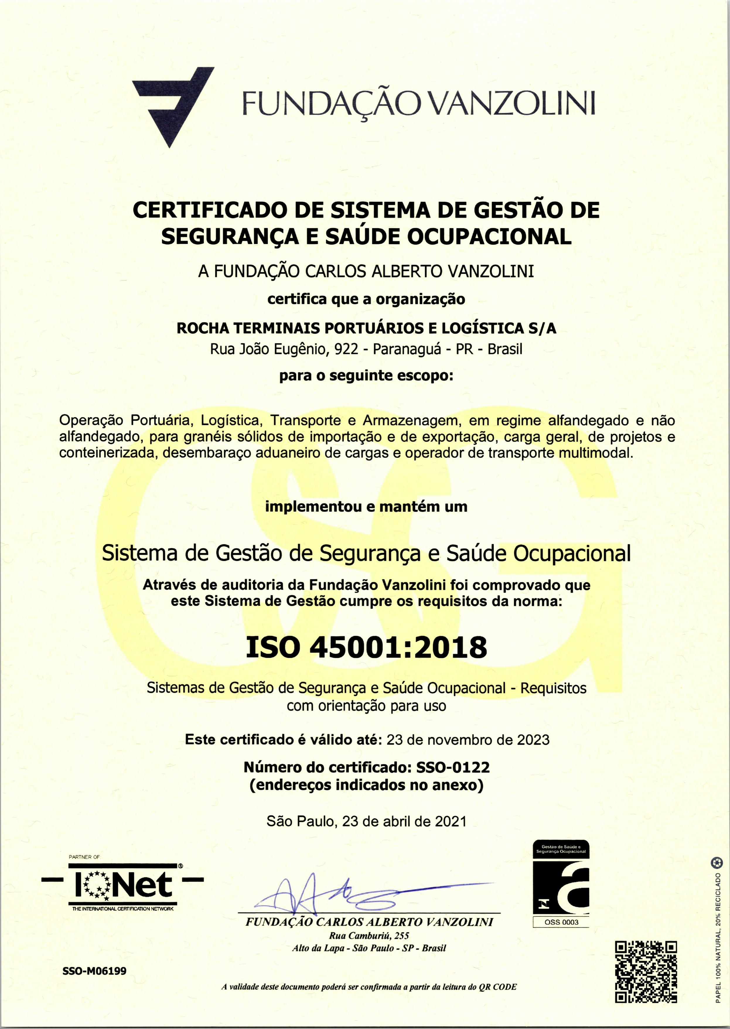 Certificação ISO 45001 Rochalog